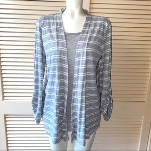 White Stag L 12-14 Connected Twin Set Striped Top